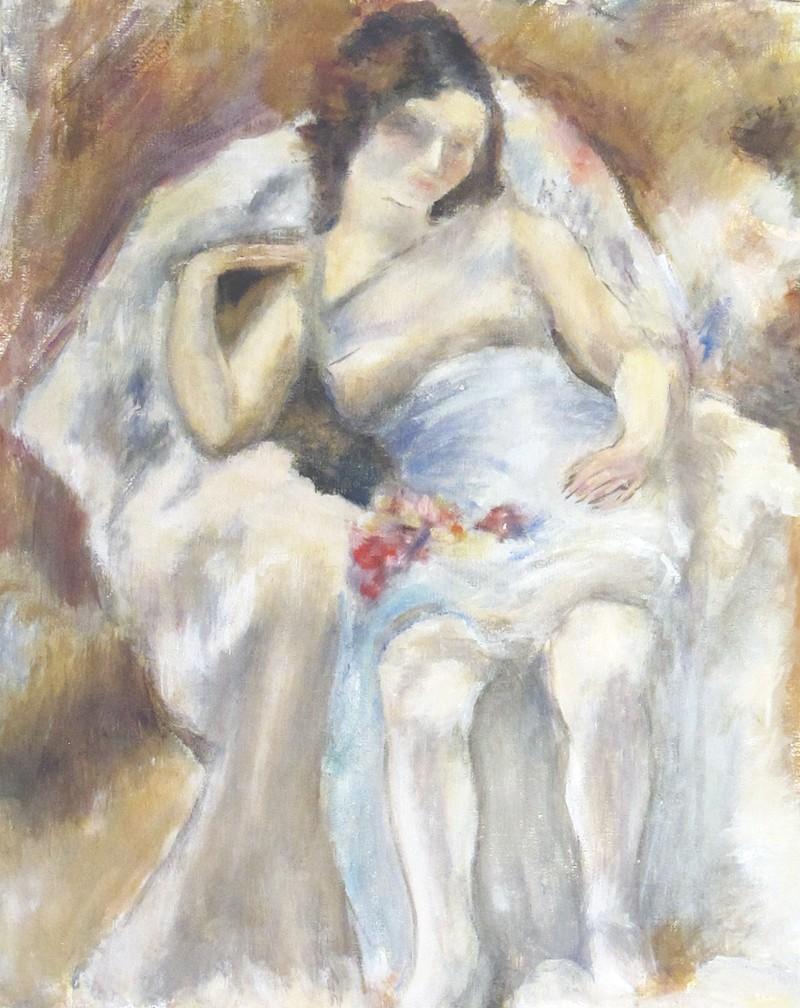 Jeune fille assise aux fleurs