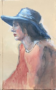 Visage de femme de profil avec un  chapeau